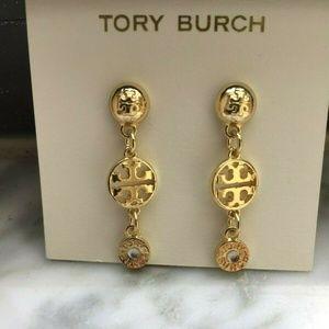NEW Tory Burch 16K LOGO Drop Stud Earrings